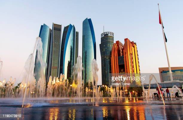 etihad towers skyscrapers at the downtown abu dhabi - abu dhabi stock pictures, royalty-free photos & images