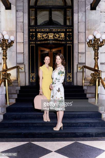 Etiquette expert Myka Meier and journalist Sophia Money Coutts are photographed for Daily Mail on March 23 2018 at the Plaza Hotel in New York City...
