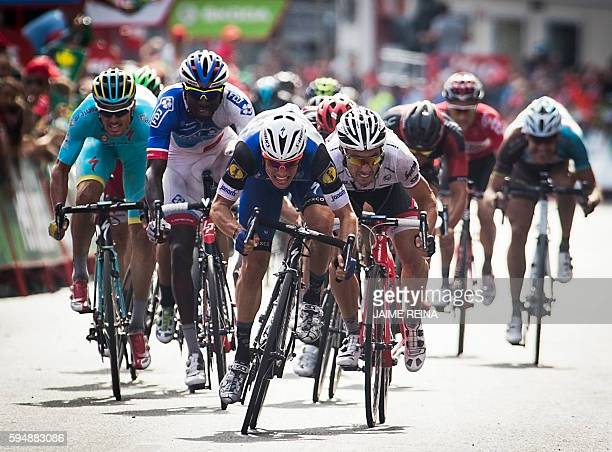 TOPSHOT EtixxQuickstep' Begium cyclist Gianni Meersman sprints to win during the fifth stage of the 71st edition of La Vuelta Tour of Spain a 1713 km...