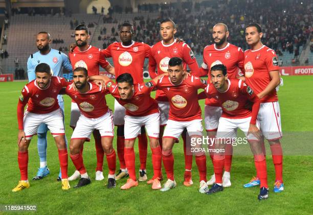 Etloile sportive du sahel line up during the CAF Champions League 2019 - 20 football match between Al-Ahly and Etoile sportive du sahel in Rades. .