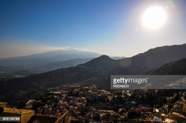 Etna Unesco site landscape from Castelmola Sicily Italy