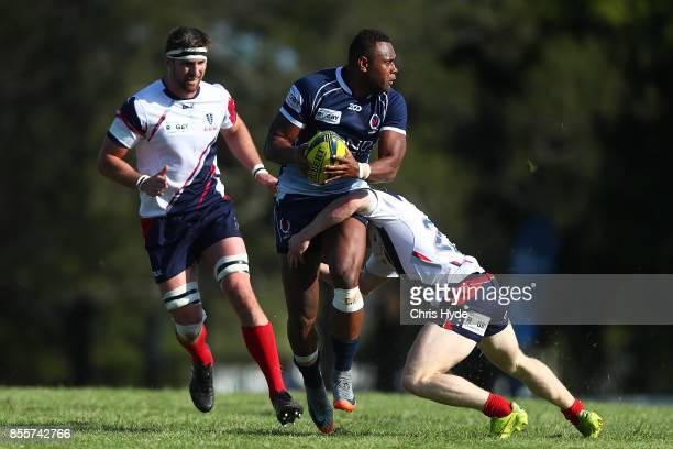 Eto Nabuli of Queensland Country is tackled during the round five NRC match between Queensland Country and Melbourne at Bond University on September...