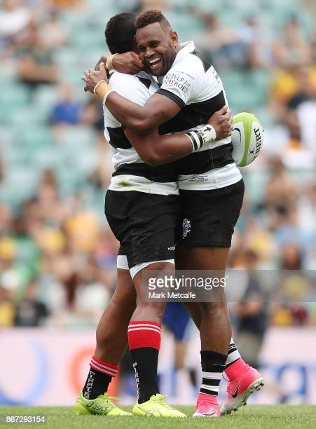 Eto Nabuli of the Barbarians celebrates scoring a try during the match between the Australian Wallabies and the Barbarians at Allianz Stadium on...