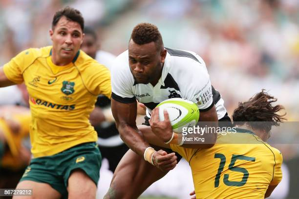 Eto Nabuli of the Barbarians is tackled during the match between the Australian Wallabies and the Barbarians at Allianz Stadium on October 28 2017 in...
