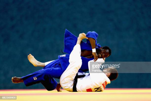 Etoga Dieudonne Mama of Cameroon and Meirzhan Kaltayev of Kazaksthan compete in the Men's Judo -66 kg repechage during day two of Baku 2017 - 4th...