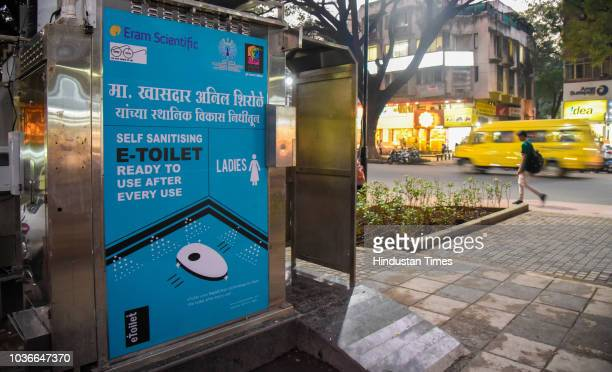 Toilet for ladies on JM road on September 19 2018 in Pune India Prefabricated public toilet incorporates a fullcycle approach in sustainable...