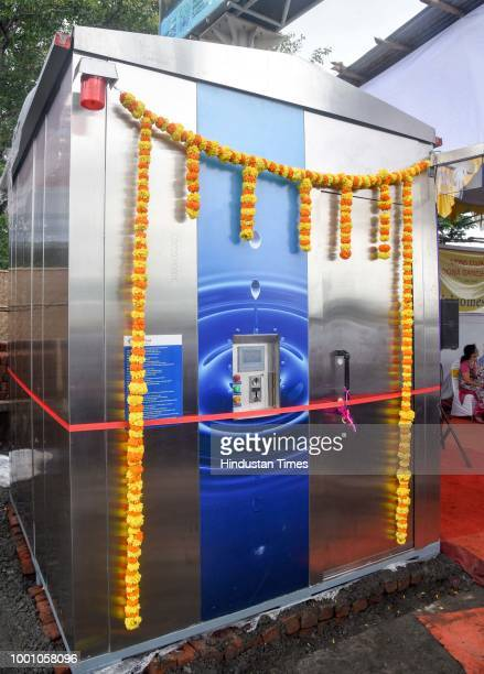 Etoilets for women being inaugurated by Pune Mayor Mukta Tilak at Khanduji Baba Chowk on July 17 2018 in Pune India The uniquely designed toilet for...