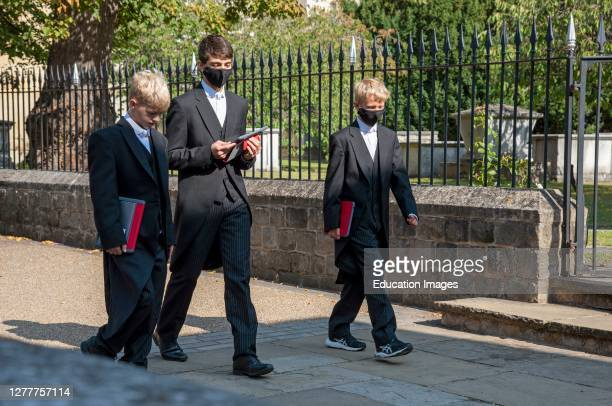 Eton, berkshire, England, UK, Eton College students some wearing masks during Covid-19 lockdown walking between lessons at this famous public school.