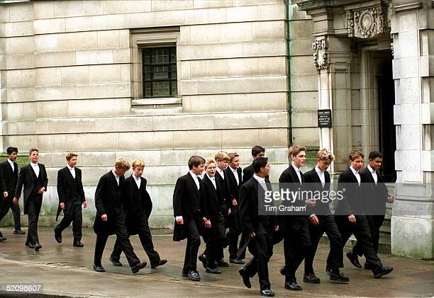 Eton Boys Leaving Their School House For Their First Day Of Lessons At Eton College