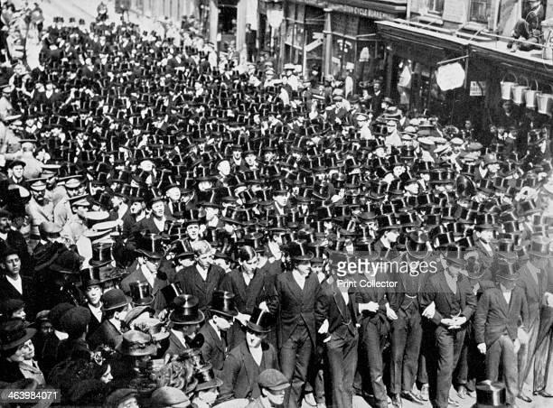 'Eton Boys Listening to the Reading of the Proclamation on Windsor Bridge' Berkshire 1910 The schoolboys are listening to the proclamation of George...