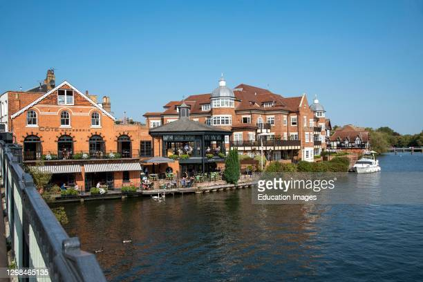 Eton, Buckinghamshire, England, UK, An overview of the River Thames at Eton seen from the Windsor to Eton bridge, Berkshire side of this famous...