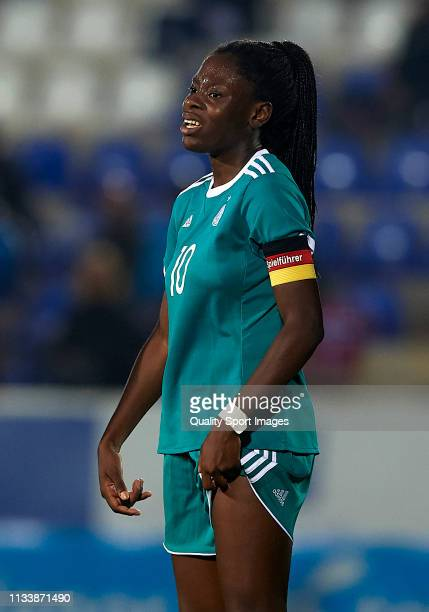 Etonam Nicole Anyomi of Germany reacts during the 14 Nations Tournament match between U19 Women's Germany and U19 Women's Norway on March 05 2019 in...