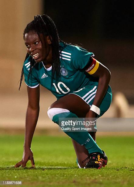 Etonam Nicole Anyomi of Germany reacts on the pitch during the 14 Nations Tournament match between U19 Women's Germany and U19 Women's Norway on...