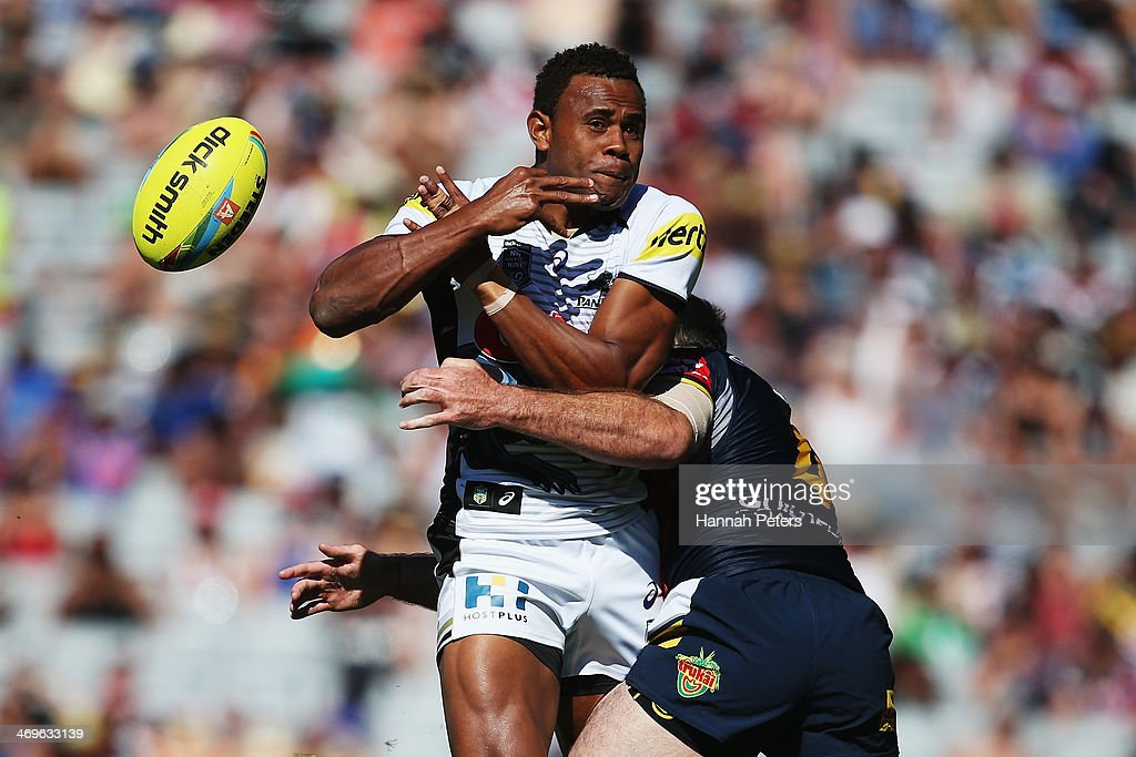Etonia Nabuli of the Panthers loses the ball during the quarter final match between the Penrith Panthers and the North Queensland Cowboys in the Auckland NRL Nines at Eden Park on February 16, 2014 in Auckland, New Zealand.