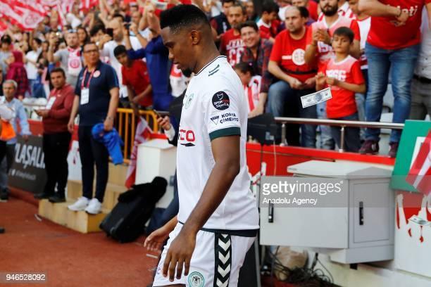 "Eto'o of Atiker Konyaspor is seen after Antalyaspor supporters threw fake 100 dollar bills with his photo, to protest ""their former player"" Eto'o,..."