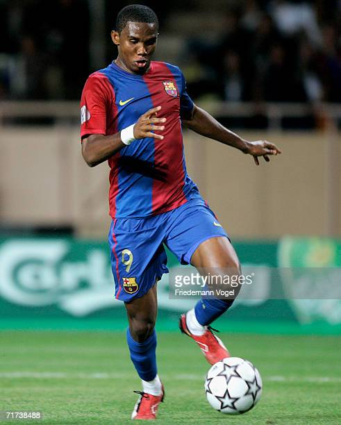 Eto'o of Barcelona in action during the UEFA Super Cup between FC Barcelona and FC Sevilla at the Stadium Louis II on August 25 2006 in Monte Carlo...