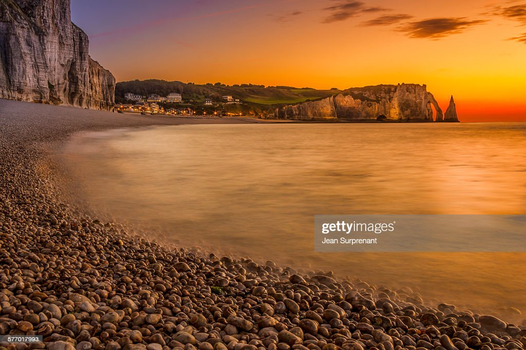 Etretat beach sunset : Stock Photo