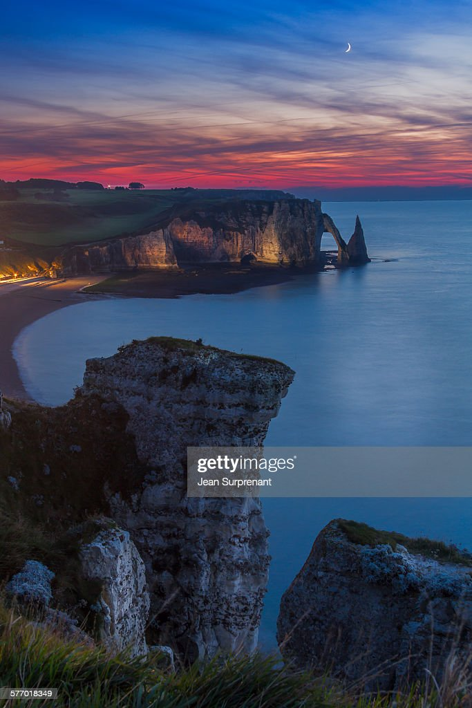 Etretat blue hour : Stock Photo