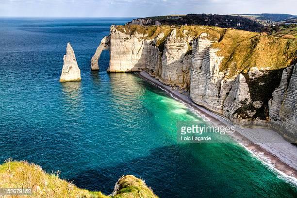 etretat cliff - lagarde stock photos and pictures