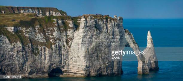Cliffs along the 'Cote d'Albatre' , in the area called 'pays de Caux', a natural region in northern France. ÒL'AiguilleÓ and the 'Porte d'Aval' arch