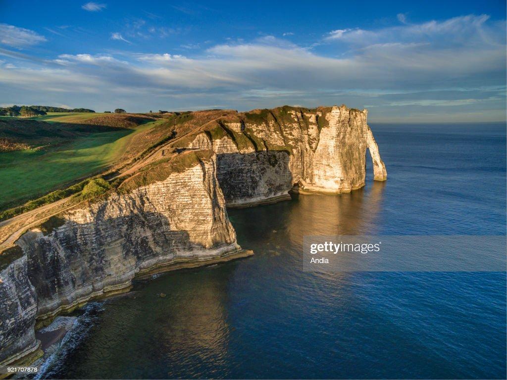 cliffs along the Norman coast 'Cote d'Albatre'. The 'Porte d'Aval' arch.