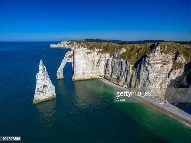Etretat : cliffs along the Norman coast 'Cote d'Albatre'. The 'Porte d'Aval' arch and L'Aiguille .
