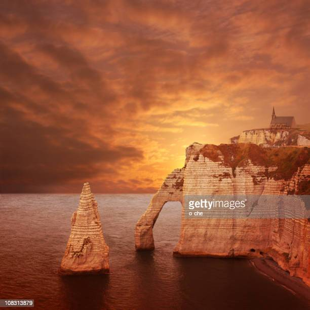Étretat sunset cliffs
