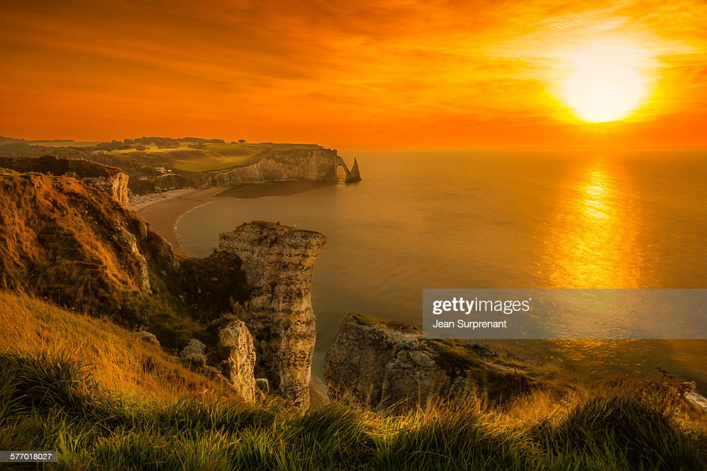 Etretat sunset : Stock Photo