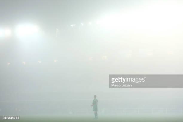 Etrit Berisha of Atalanta BC in the fog during the TIM Cup match between Atalanta BC and Juventus at Stadio Atleti Azzurri d'Italia on January 30...