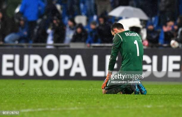 Etrit Berisha of Atalanta reacts after UEFA Europa League Round of 32 match between Atalanta and Borussia Dortmund at the Mapei Stadium Citta' del...