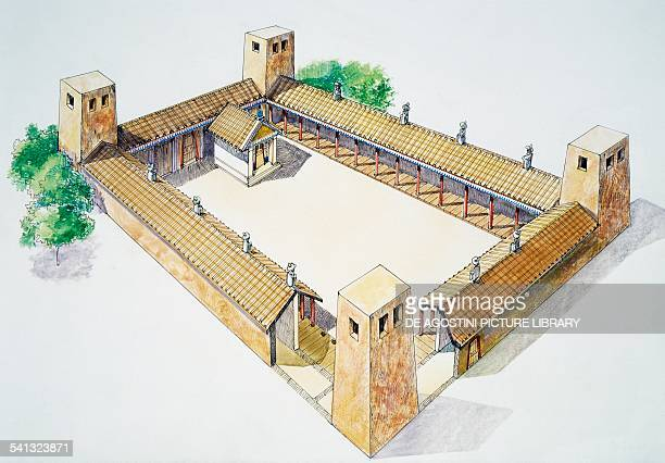 Etruscan building at Poggio Civitate drawing Murlo Tuscany Italy Etruscan civilisation 7th6th century BC