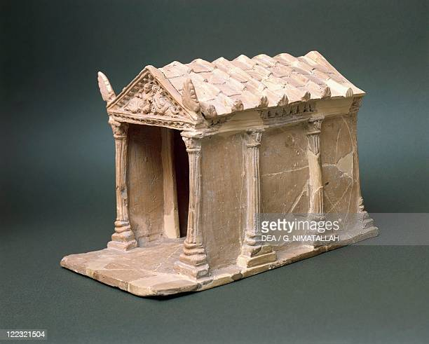Etruscan civilization 1st century bC Model of a temple in terracotta From Vulci Montalto di Castro Viterbo Province