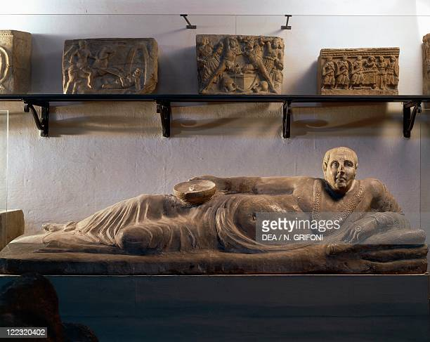 Etruscan civilization 2nd century bC Alabaster funerary sculpture known as Sarcophagus of the Obese Man from Chiusi Siena province Italy