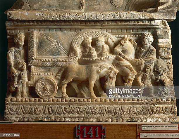 Etruscan civilization, 2nd-1st century b.C. Alabaster urn portraying husband and wife who make the journey into the underworld together.