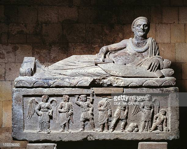 Etruscan civilization 3rd century bC Sarcophagus of the Magistrate nenfro circa 200 bC