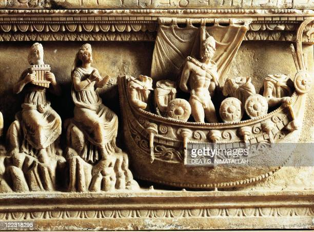 Etruscan civilization 4th century bC Alabaster urn Detail of relief depicting Ulysses and the Sirens