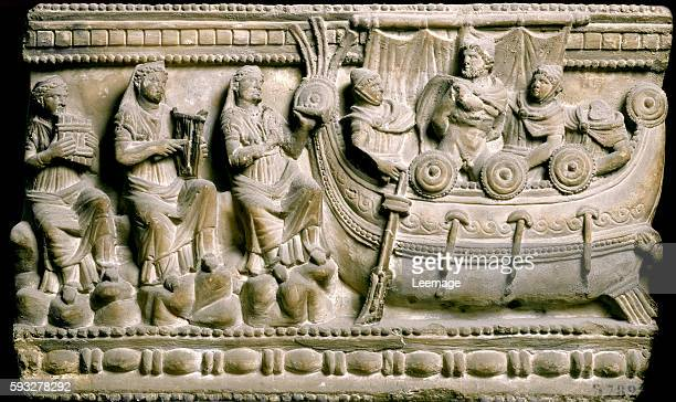 Basrelief of a sarcophagus showing Ulysses tied to the mast to resist to the song of sirens from Volterra Pisa province Italy Archaeological Museum...