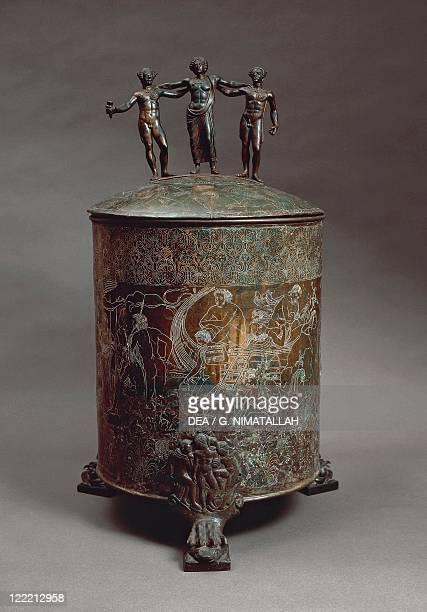 Etruscan civilization, 4th century b.C. Cista Ficoroni, cylindrical bronze jewel casket with lid found at Palestrina by Francesco de' Ficoroni,...