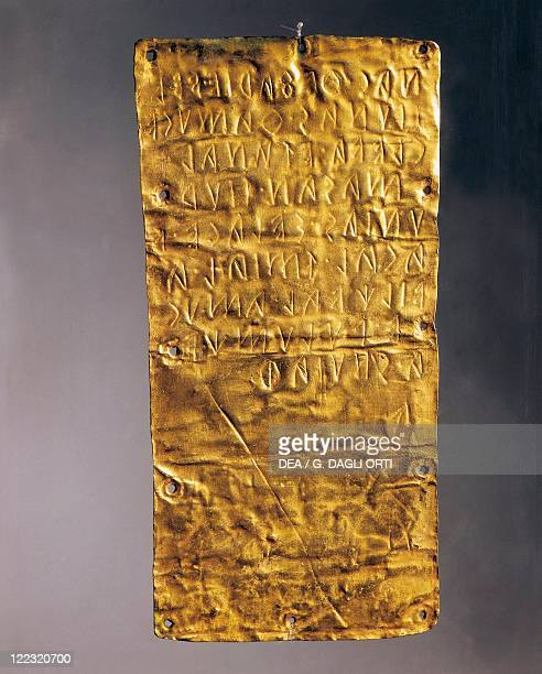 Etruscan civilization 5th century bC Goldsmithery Gold foil with Etruscan inscription From Pyrgi Italy