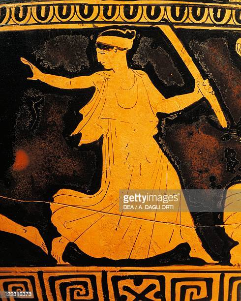 Etruscan civilization 5th century bC Redfigure pottery Krater attributed to Kleophon Painter circa 430 bC Detail running Maenad