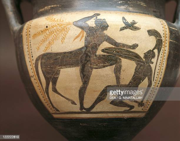 Etruscan civilization 6th century bC Blackfigure pottery Detail of krater depicting centauromachy