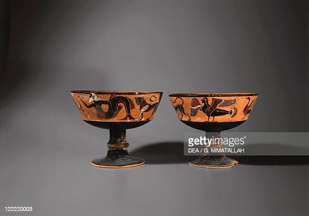 Etruscan civilization 6th century bC Blackfigure pottery pair of goblets by the Amphiaraos Painter side A 530520 bC From Orvieto