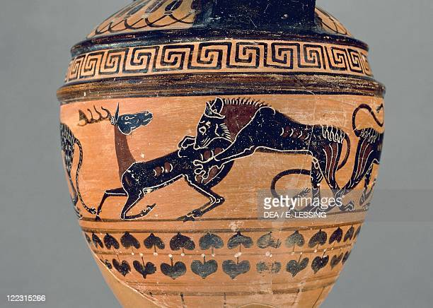 Etruscan civilization 6th century bC Blackfigure pottery Pontic amphora depicting a hyena attacking a gazelle Paris Painter 550540 bC