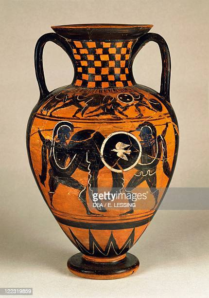 Etruscan civilization 6th century bC Blackfigure pottery Pontic amphora depicting fighting warriors