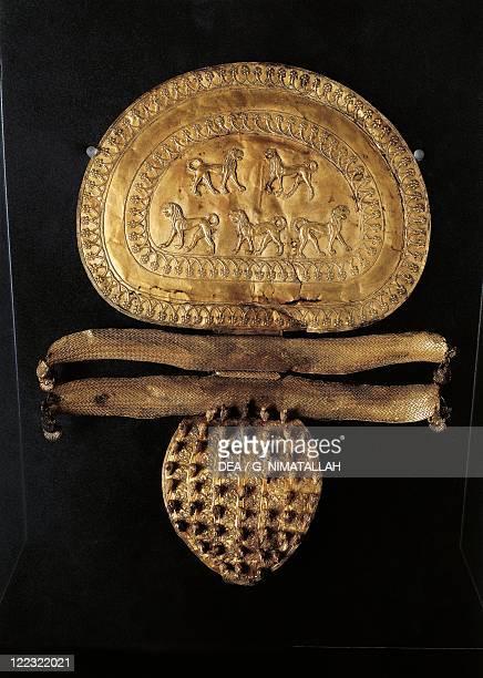 Etruscan civilization 7th century bC Circa 650 bC A gold disc shaped fibula from RegoliniGalassi Tomb in Cerveteri Rome