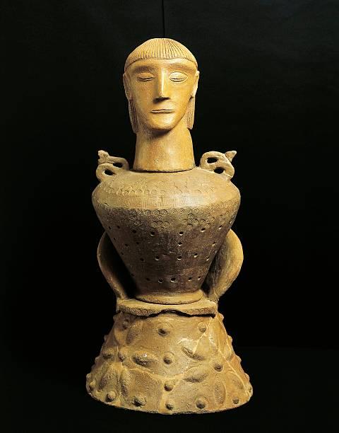 Etruscan Civilization Terracotta Canopic Vase From Sarteano Near