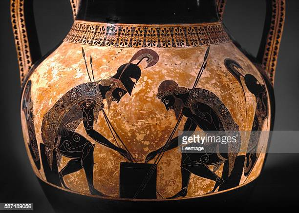 Achilles and Ajax heroes of the Trojan War playing dice Black figure amphora ceramic by Exekias ca 540 BC h61 cm Vatican Museums and Galleries