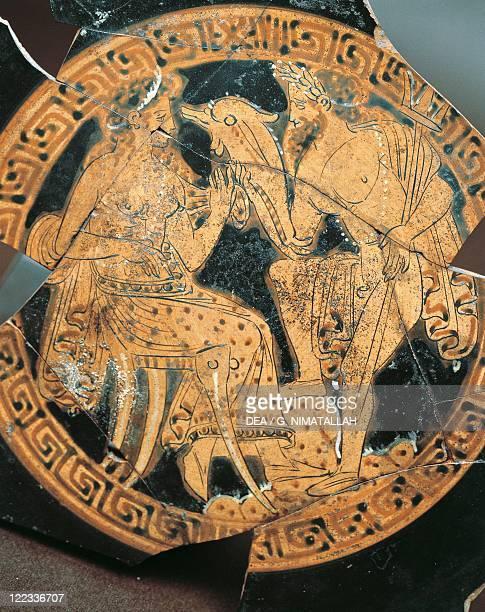 Etruscan civilization Redfigure pottery Internal decoration of a krater depicting Poseidon and Amphitrite