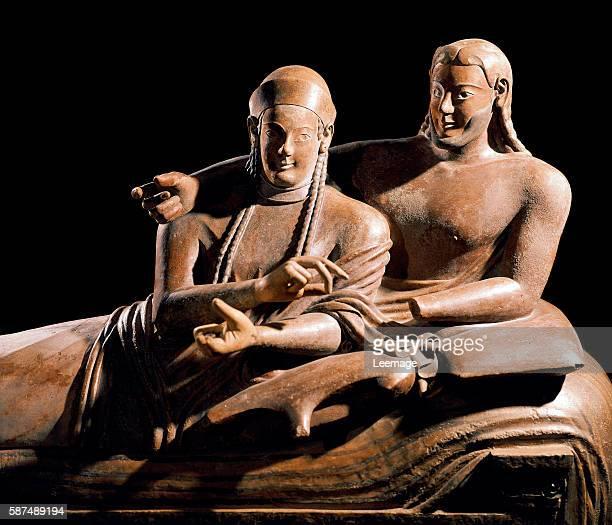 Sarcophagus of the spouses detail Terracotta sculpture from Cerveteri 525500 BC Louvre Paris