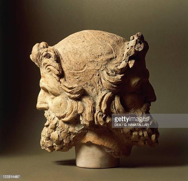 Etruscan civilization. Two-faced Janus head, from Vulci, Montalto di Castro, Viterbo Province, Italy.